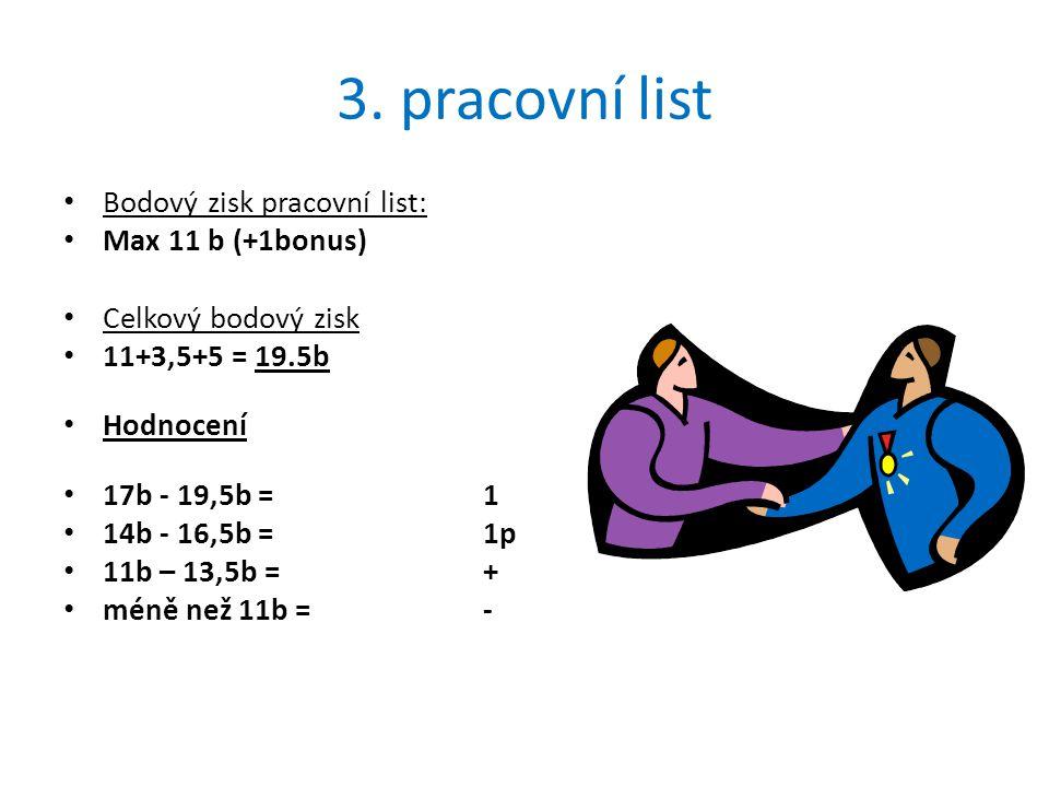 3. pracovní list Bodový zisk pracovní list: Max 11 b (+1bonus) Celkový bodový zisk 11+3,5+5 = 19.5b Hodnocení 17b - 19,5b = 1 14b - 16,5b = 1p 11b – 1