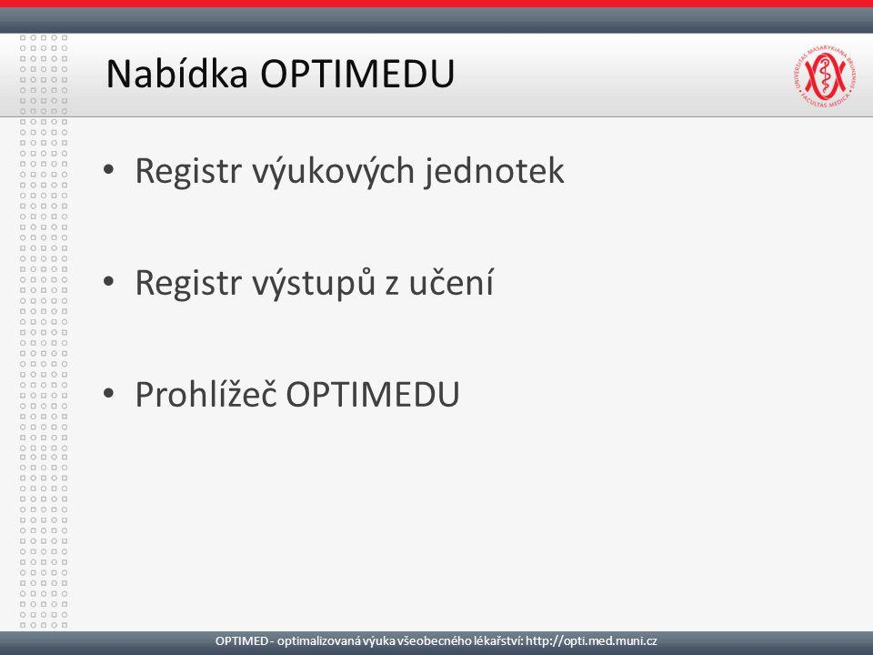 Registr výukových jednotek Registr výstupů z učení Prohlížeč OPTIMEDU Nabídka OPTIMEDU OPTIMED - optimalizovaná výuka všeobecného lékařství: http://opti.med.muni.cz