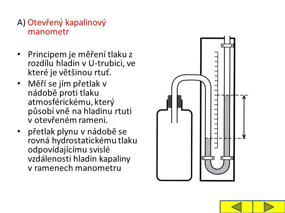 A) Otevřený kapalinový manometr Principem je měření tlaku z rozdílu hladin v U-trubici, ve které je většinou rtuť. Měří se jím přetlak v nádobě proti