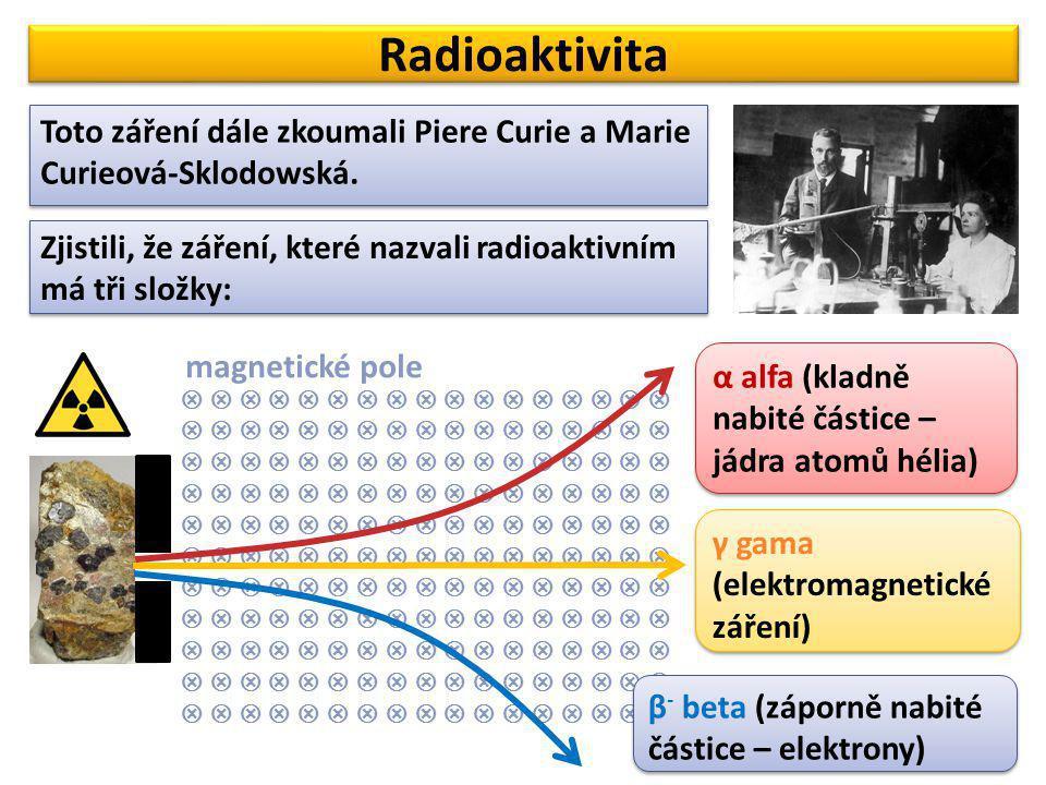 Radioaktivita Toto záření dále zkoumali Piere Curie a Marie Curieová-Sklodowská. Zjistili, že záření, které nazvali radioaktivním má tři složky:   