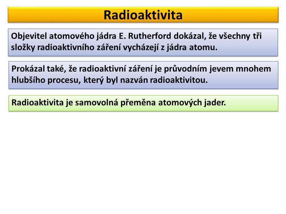 Radioaktivita Objevitel atomového jádra E. Rutherford dokázal, že všechny tři složky radioaktivního záření vycházejí z jádra atomu. Prokázal také, že