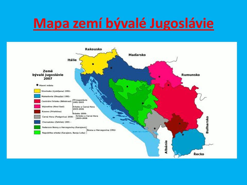 Mapa zemí bývalé Jugoslávie