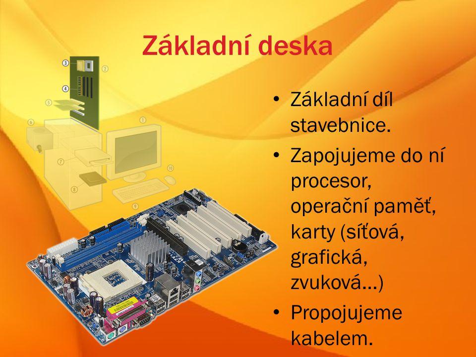 Sestava PC 1)monitor 2)základní deska 3)procesor (CPU) 4)operační paměť 5)různé karty 6)elektrický zdroj 7)optická mechanika 8)pevný disk 9)klávesnice