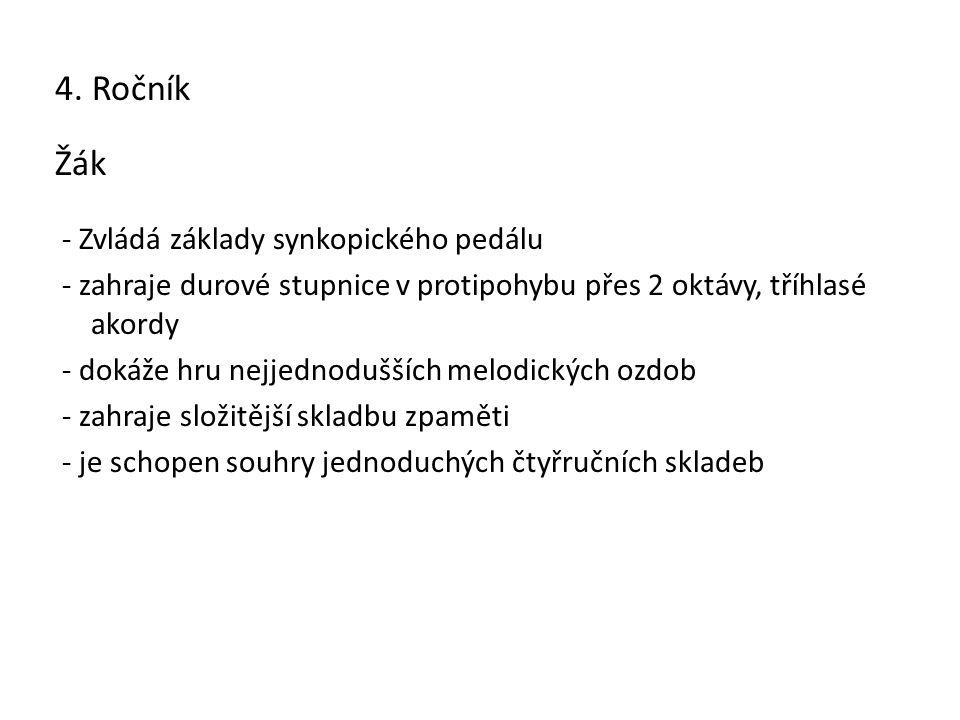 4. Ročník Žák - Zvládá základy synkopického pedálu - zahraje durové stupnice v protipohybu přes 2 oktávy, tříhlasé akordy - dokáže hru nejjednodušších