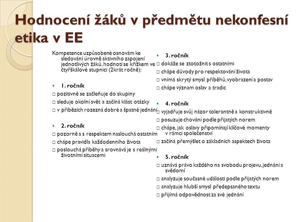 Hodnocení žáků v předmětu nekonfesní etika v EE Kompetence uzpůsobené osnovám ke sledování úrovně aktivního zapojení jednotlivých žáků, hodnotí se kří