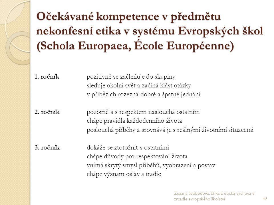Očekávané kompetence v předmětu nekonfesní etika v systému Evropských škol (Schola Europaea, École Européenne) 1. ročníkpozitivně se začleňuje do skup