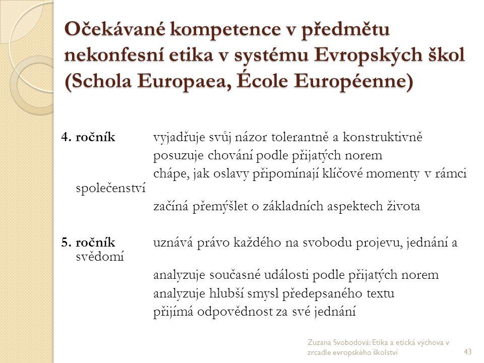 Očekávané kompetence v předmětu nekonfesní etika v systému Evropských škol (Schola Europaea, École Européenne) 4. ročníkvyjadřuje svůj názor tolerantn