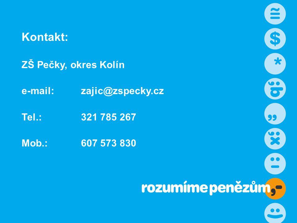 Kontakt: ZŠ Pečky, okres Kolín e-mail: zajic@zspecky.cz Tel.: 321 785 267 Mob.:607 573 830