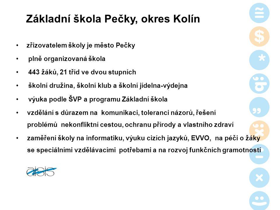 Základní škola Pečky, okres Kolín zřizovatelem školy je město Pečky plně organizovaná škola 443 žáků, 21 tříd ve dvou stupních školní družina, školní