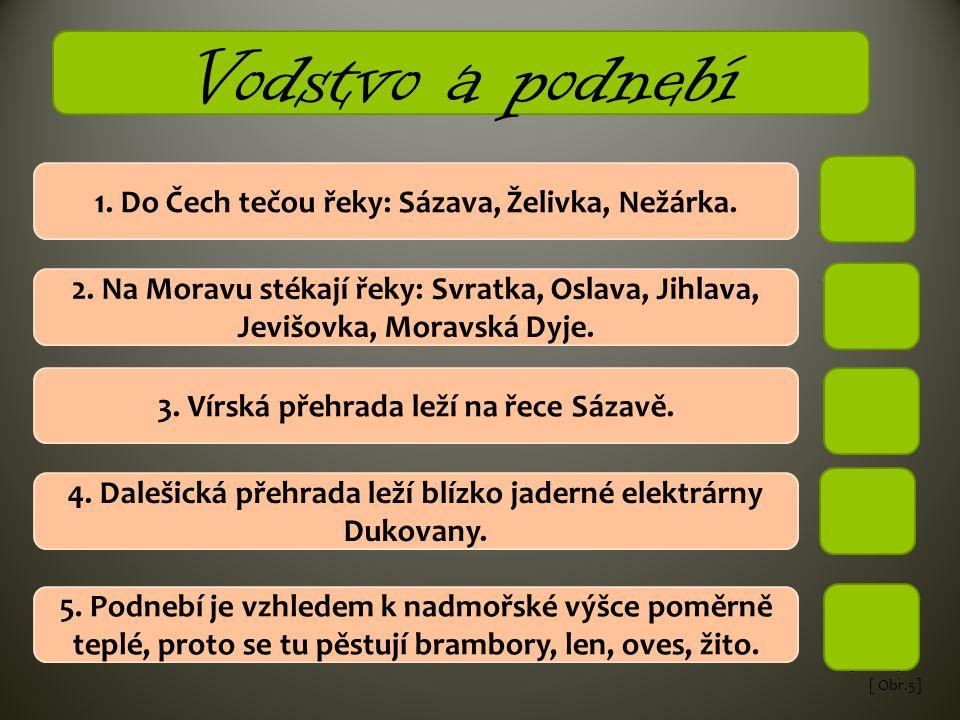 [ Obr.5] 1. Do Čech tečou řeky: Sázava, Želivka, Nežárka. 2. Na Moravu stékají řeky: Svratka, Oslava, Jihlava, Jevišovka, Moravská Dyje. 3. Vírská pře