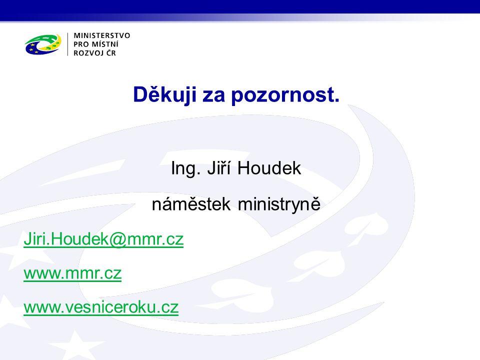 Ing. Jiří Houdek náměstek ministryně Jiri.Houdek@mmr.cz www.mmr.cz www.vesniceroku.cz Děkuji za pozornost.