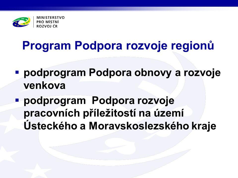 Program Podpora rozvoje regionů  podprogram Podpora obnovy a rozvoje venkova  podprogram Podpora rozvoje pracovních příležitostí na území Ústeckého