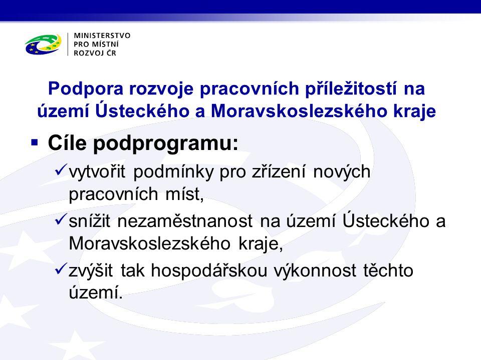 Podpora rozvoje pracovních příležitostí na území Ústeckého a Moravskoslezského kraje  Cíle podprogramu: vytvořit podmínky pro zřízení nových pracovní