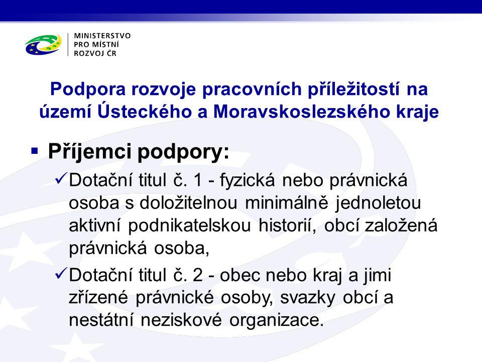Podpora rozvoje pracovních příležitostí na území Ústeckého a Moravskoslezského kraje  Příjemci podpory: Dotační titul č. 1 - fyzická nebo právnická o