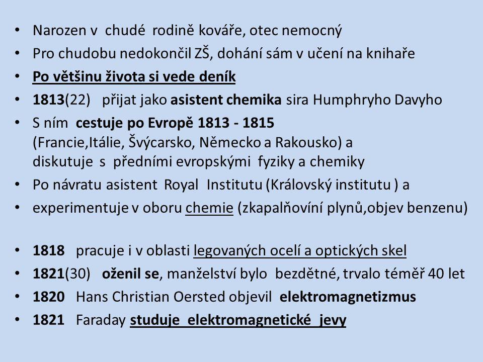 Narozen v chudé rodině kováře, otec nemocný Pro chudobu nedokončil ZŠ, dohání sám v učení na knihaře Po většinu života si vede deník 1813(22) přijat jako asistent chemika sira Humphryho Davyho S ním cestuje po Evropě 1813 - 1815 (Francie,Itálie, Švýcarsko, Německo a Rakousko) a diskutuje s předními evropskými fyziky a chemiky Po návratu asistent Royal Institutu (Královský institutu ) a experimentuje v oboru chemie (zkapalňovíní plynů,objev benzenu) 1818 pracuje i v oblasti legovaných ocelí a optických skel 1821(30) oženil se, manželství bylo bezdětné, trvalo téměř 40 let 1820 Hans Christian Oersted objevil elektromagnetizmus 1821 Faraday studuje elektromagnetické jevy