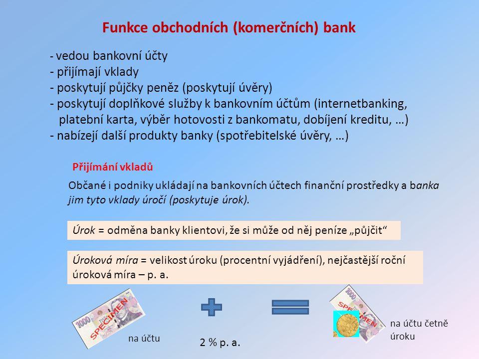Funkce obchodních (komerčních) bank - vedou bankovní účty - přijímají vklady - poskytují půjčky peněz (poskytují úvěry) - poskytují doplňkové služby k bankovním účtům (internetbanking, platební karta, výběr hotovosti z bankomatu, dobíjení kreditu, …) - nabízejí další produkty banky (spotřebitelské úvěry, …) Přijímání vkladů Občané i podniky ukládají na bankovních účtech finanční prostředky a banka jim tyto vklady úročí (poskytuje úrok).