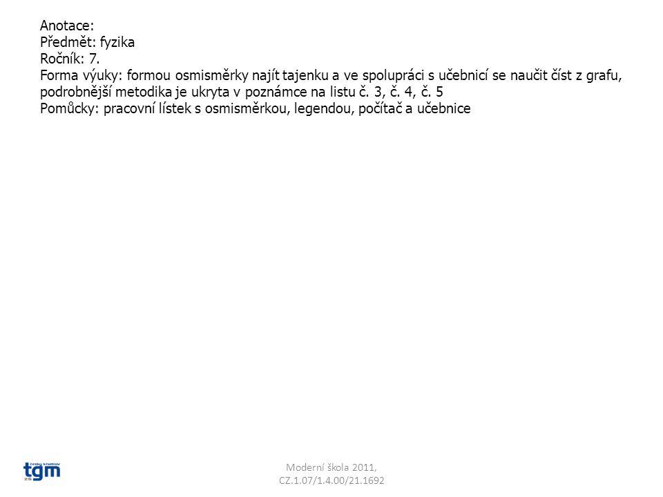 Anotace: Předmět: fyzika Ročník: 7. Forma výuky: formou osmisměrky najít tajenku a ve spolupráci s učebnicí se naučit číst z grafu, podrobnější metodi
