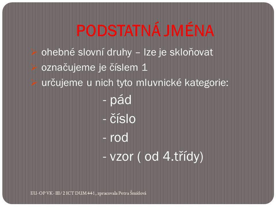 PODSTATNÁ JMÉNA  ohebné slovní druhy – lze je skloňovat  označujeme je číslem 1  určujeme u nich tyto mluvnické kategorie: - pád - číslo - rod - vzor ( od 4.třídy) EU-OP VK- III/2 ICT DUM 441, zpracovala Petra Šmídová