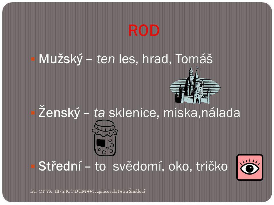 ROD  Mužský – ten les, hrad, Tomáš  Ženský – ta sklenice, miska,nálada  Střední – to svědomí, oko, tričko EU-OP VK- III/2 ICT DUM 441, zpracovala Petra Šmídová