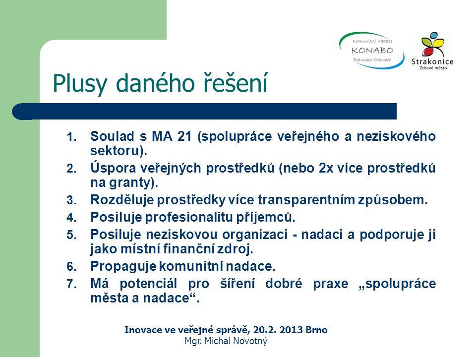 Plusy daného řešení Inovace ve veřejné správě, 20.2.