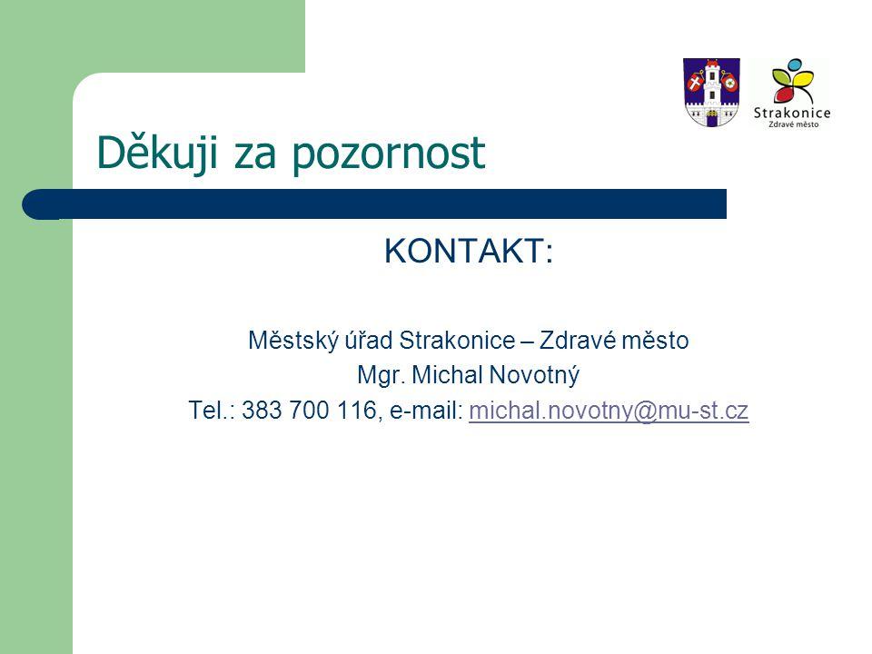 Děkuji za pozornost KONTAKT: Městský úřad Strakonice – Zdravé město Mgr.
