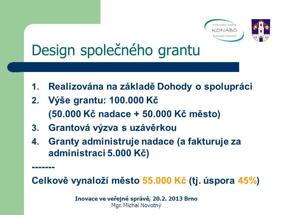 Design společného grantu 1. Realizována na základě Dohody o spolupráci 2.