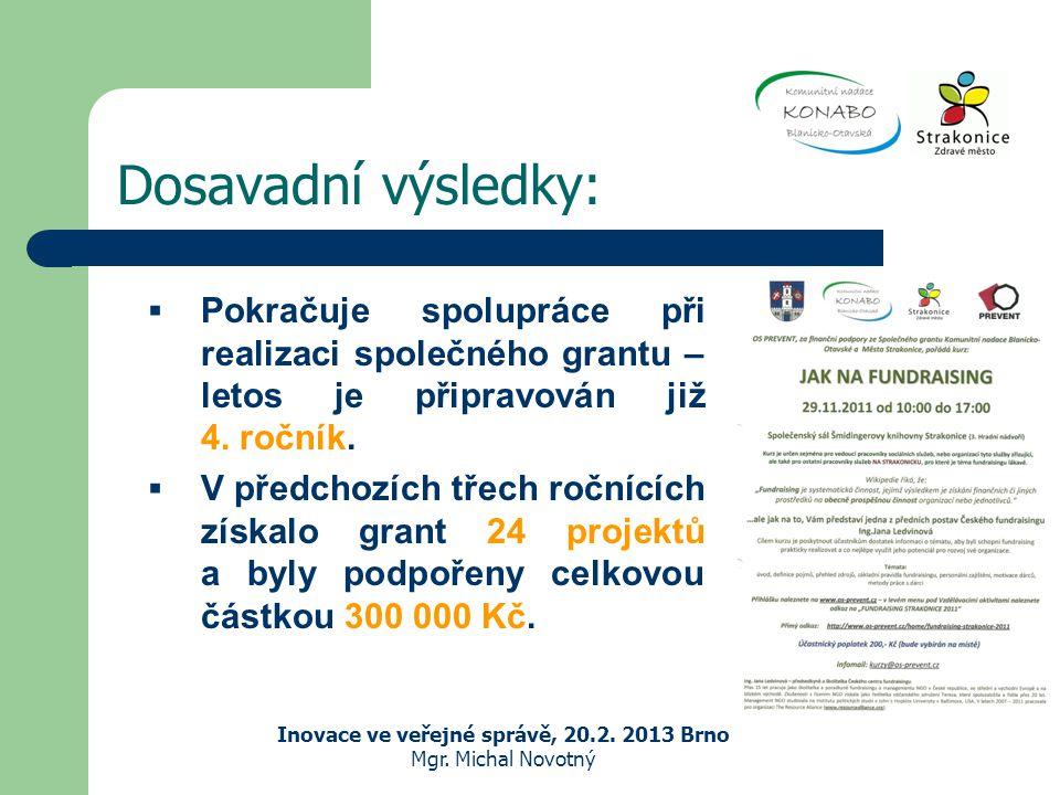 Dosavadní výsledky: Inovace ve veřejné správě, 20.2.
