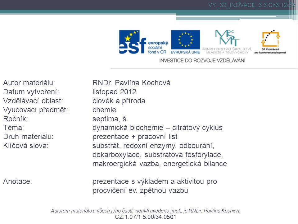Autorem materiálu a všech jeho částí, není-li uvedeno jinak, je RNDr. Pavlína Koch ová CZ.1.07/1.5.00/34.0501 Autor materiálu:RNDr. Pavlína Kochová Da