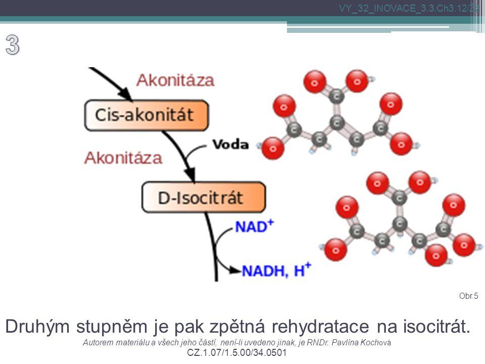 Druhým stupněm je pak zpětná rehydratace na isocitrát. Autorem materiálu a všech jeho částí, není-li uvedeno jinak, je RNDr. Pavlína Koch ová CZ.1.07/