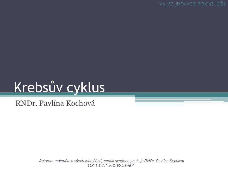 Krebsův cyklus RNDr. Pavlína Kochová Autorem materiálu a všech jeho částí, není-li uvedeno jinak, je RNDr. Pavlína Koch ová CZ.1.07/1.5.00/34.0501 VY_