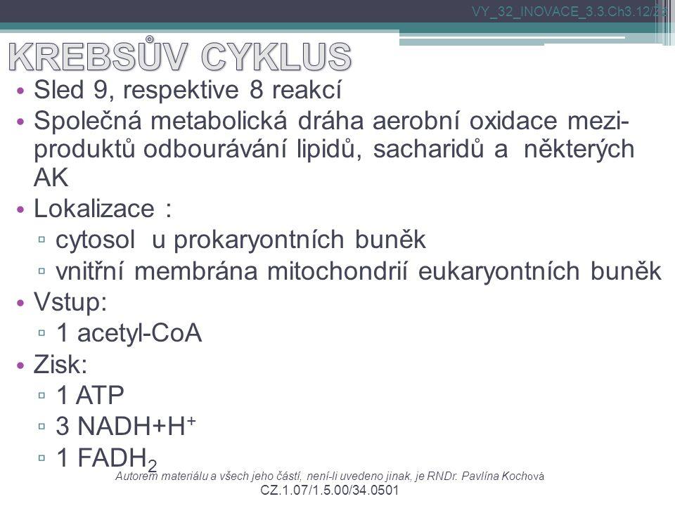 Sled 9, respektive 8 reakcí Společná metabolická dráha aerobní oxidace mezi- produktů odbourávání lipidů, sacharidů a některých AK Lokalizace : ▫ cyto