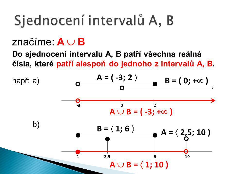 značíme: A  B Do sjednocení intervalů A, B patří všechna reálná čísla, které patří alespoň do jednoho z intervalů A, B. např:a) b) A = ( -3; 2  B =