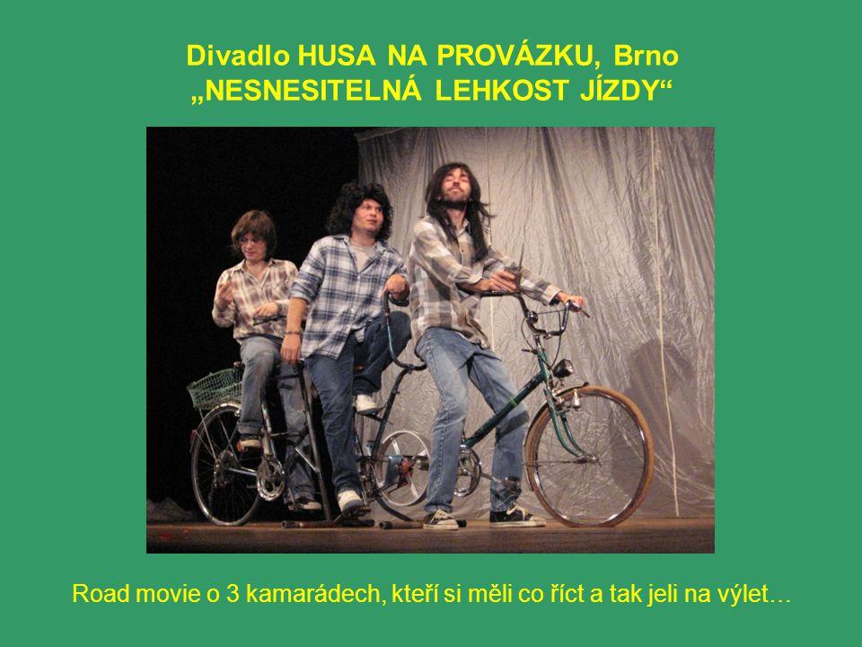 """Divadlo HUSA NA PROVÁZKU, Brno """"NESNESITELNÁ LEHKOST JÍZDY Road movie o 3 kamarádech, kteří si měli co říct a tak jeli na výlet…"""