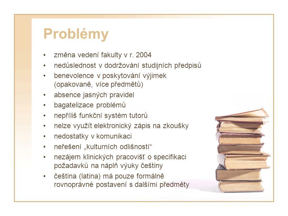 Problémy změna vedení fakulty v r. 2004 nedůslednost v dodržování studijních předpisů benevolence v poskytování výjimek (opakovaně, více předmětů) abs