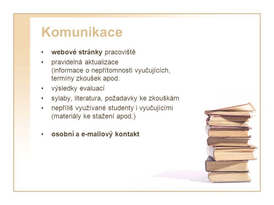 Komunikace webové stránky pracoviště pravidelná aktualizace (informace o nepřítomnosti vyučujících, termíny zkoušek apod.