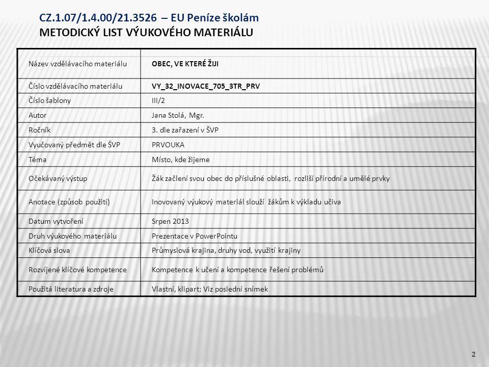 Název vzdělávacího materiáluOBEC, VE KTERÉ ŽIJI Číslo vzdělávacího materiáluVY_32_INOVACE_705_3TR_PRV Číslo šablonyIII/2 AutorJana Stolá, Mgr. Ročník3