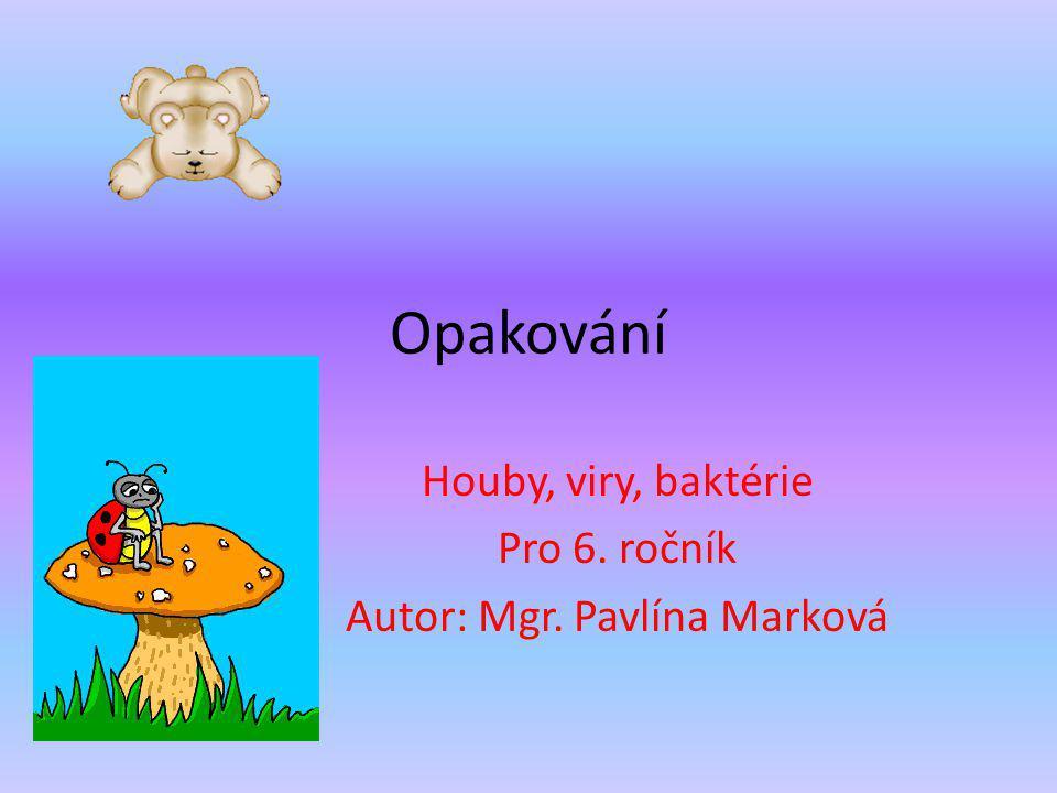 Opakování Houby, viry, baktérie Pro 6. ročník Autor: Mgr. Pavlína Marková