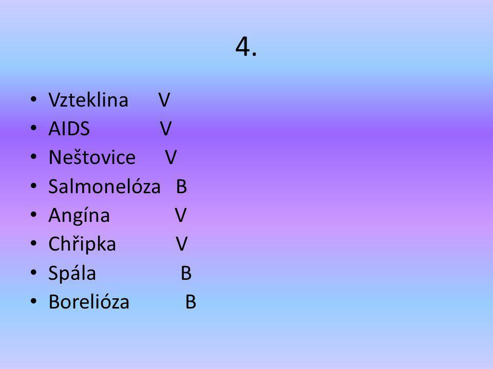 4. Vzteklina V AIDS V Neštovice V Salmonelóza B Angína V Chřipka V Spála B Borelióza B