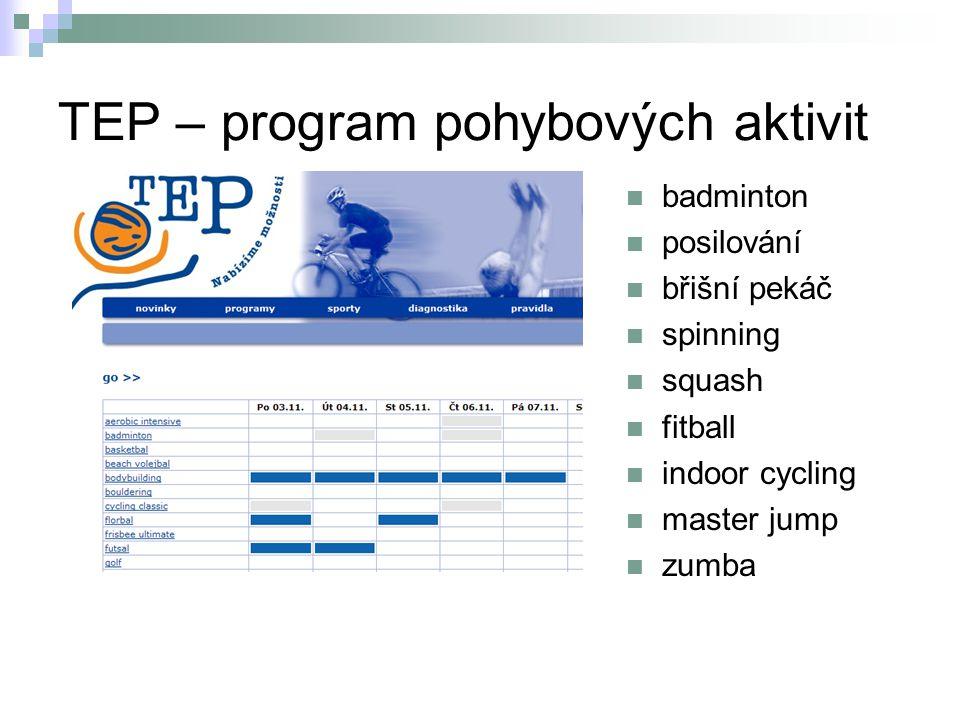 TEP – program pohybových aktivit badminton posilování břišní pekáč spinning squash fitball indoor cycling master jump zumba