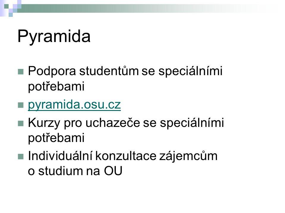 Pyramida Podpora studentům se speciálními potřebami pyramida.osu.cz Kurzy pro uchazeče se speciálními potřebami Individuální konzultace zájemcům o stu