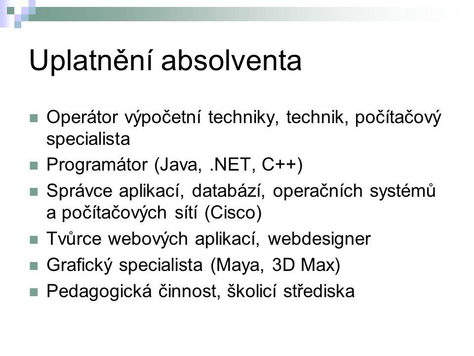 Uplatnění absolventa Operátor výpočetní techniky, technik, počítačový specialista Programátor (Java,.NET, C++) Správce aplikací, databází, operačních