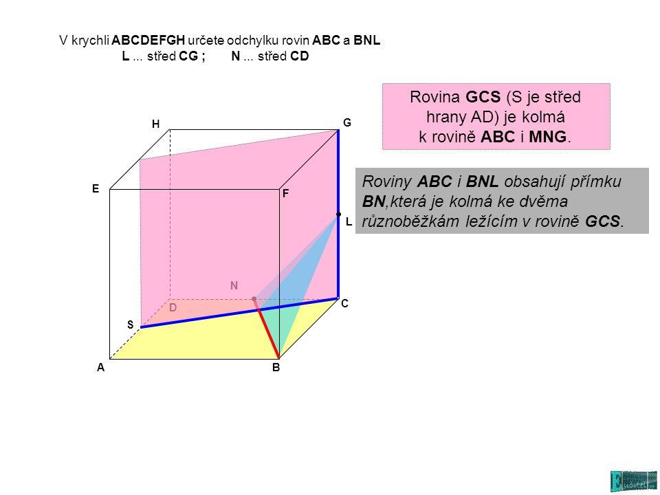 V krychli ABCDEFGH určete odchylku rovin ABC a BNL L... střed CG ; N... střed CD AB C D E G H L N S Roviny ABC i BNL obsahují přímku BN,která je kolmá