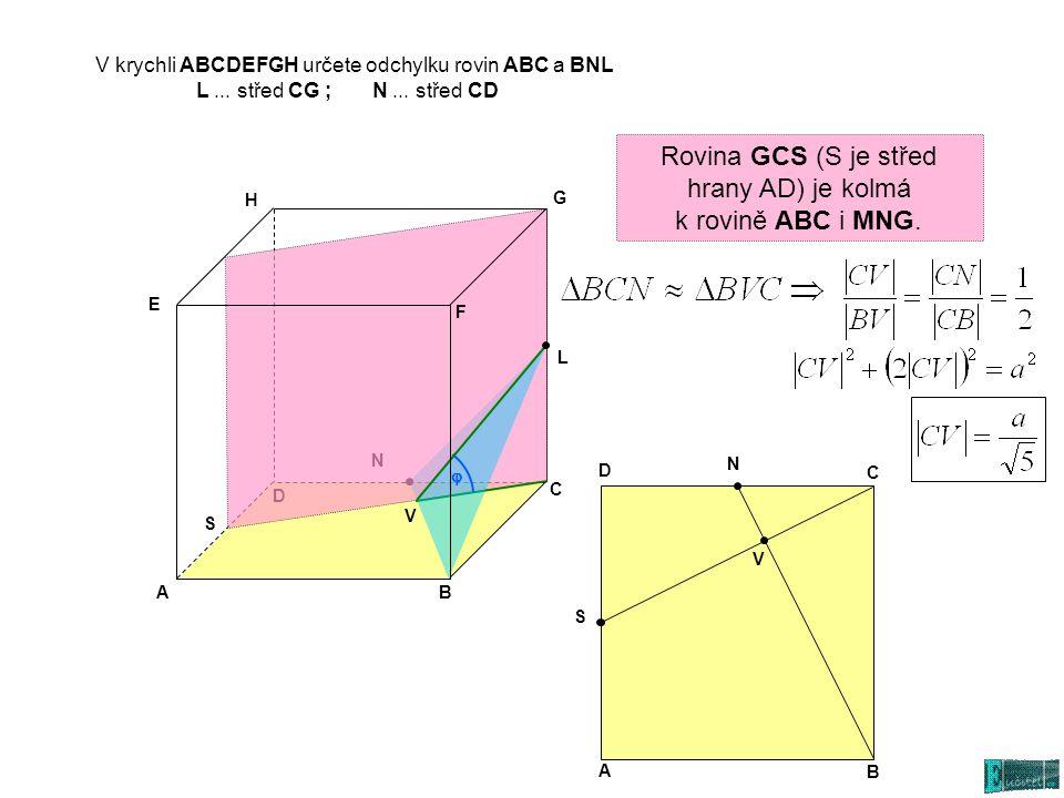 V krychli ABCDEFGH určete odchylku rovin ABC a BNL L... střed CG ; N... střed CD AB C D E G H L N S Rovina GCS (S je střed hrany AD) je kolmá k rovině