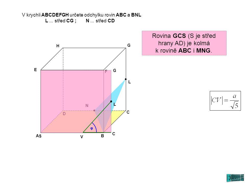 V krychli ABCDEFGH určete odchylku rovin ABC a BNL L... střed CG ; N... střed CD AB C D E G H L N Rovina GCS (S je střed hrany AD) je kolmá k rovině A