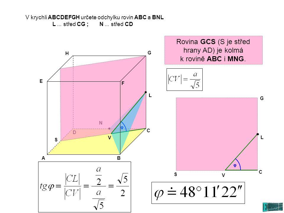 V krychli ABCDEFGH určete odchylku rovin ABC a BNL L... střed CG ; N... střed CD L Rovina GCS (S je střed hrany AD) je kolmá k rovině ABC i MNG. S V L