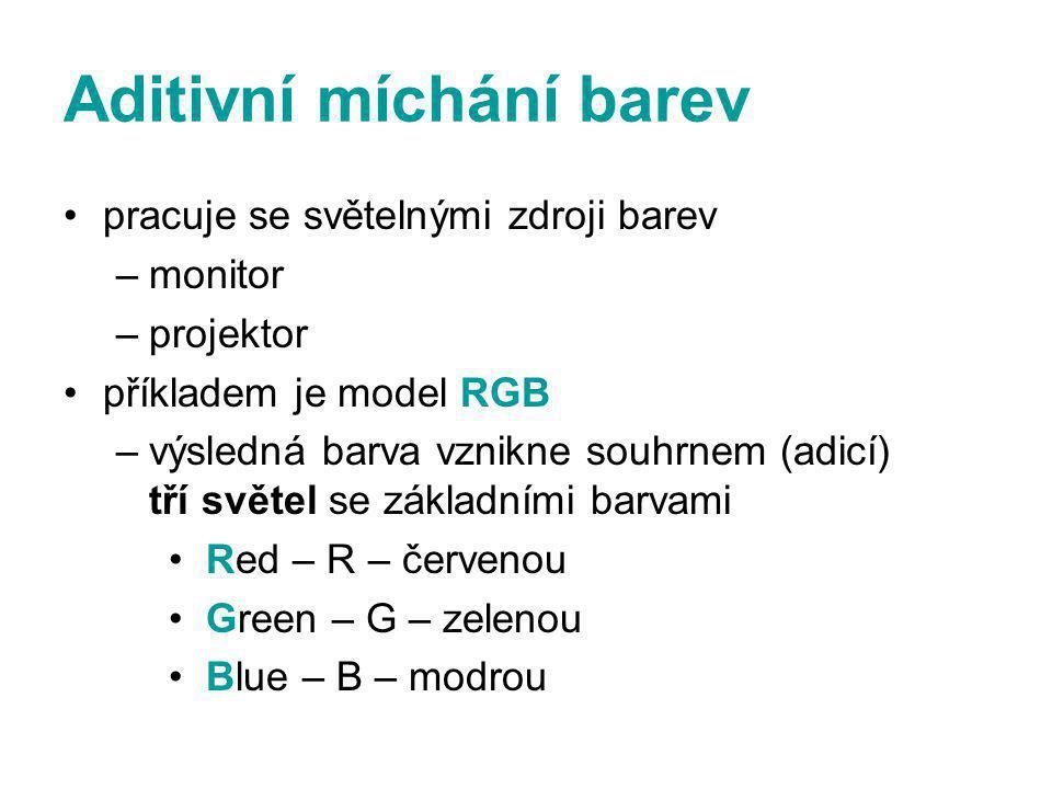 Aditivní míchání barev pracuje se světelnými zdroji barev –monitor –projektor příkladem je model RGB –výsledná barva vznikne souhrnem (adicí) tří světel se základními barvami Red – R – červenou Green – G – zelenou Blue – B – modrou