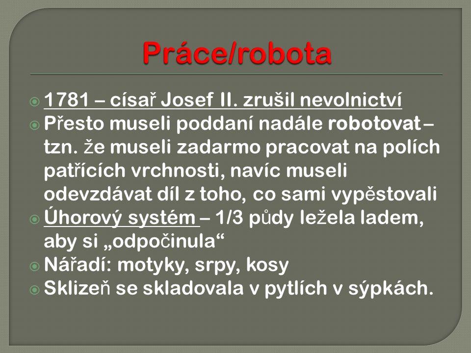  1781 – císa ř Josef II. zrušil nevolnictví  P ř esto museli poddaní nadále robotovat – tzn. ž e museli zadarmo pracovat na polích pat ř ících vrchn