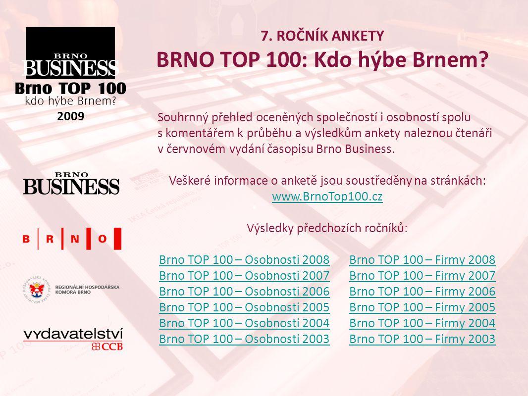7.ROČNÍK ANKETY BRNO TOP 100: Kdo hýbe Brnem. 2009 Proč se stát partnerem ankety Brno TOP 100.