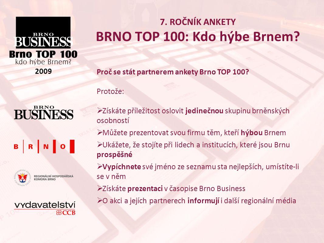 7. ROČNÍK ANKETY BRNO TOP 100: Kdo hýbe Brnem. 2009 Proč se stát partnerem ankety Brno TOP 100.