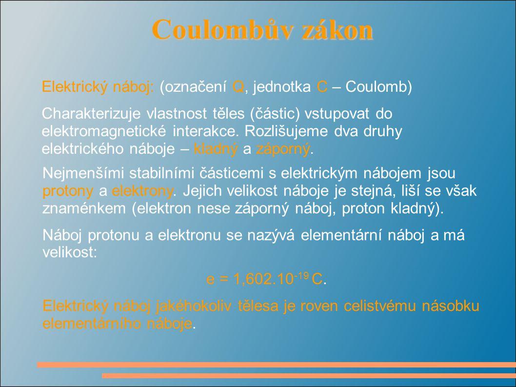 Coulombův zákon Coulombův zákon Elektrický náboj: (označení Q, jednotka C – Coulomb) Charakterizuje vlastnost těles (částic) vstupovat do elektromagnetické interakce.